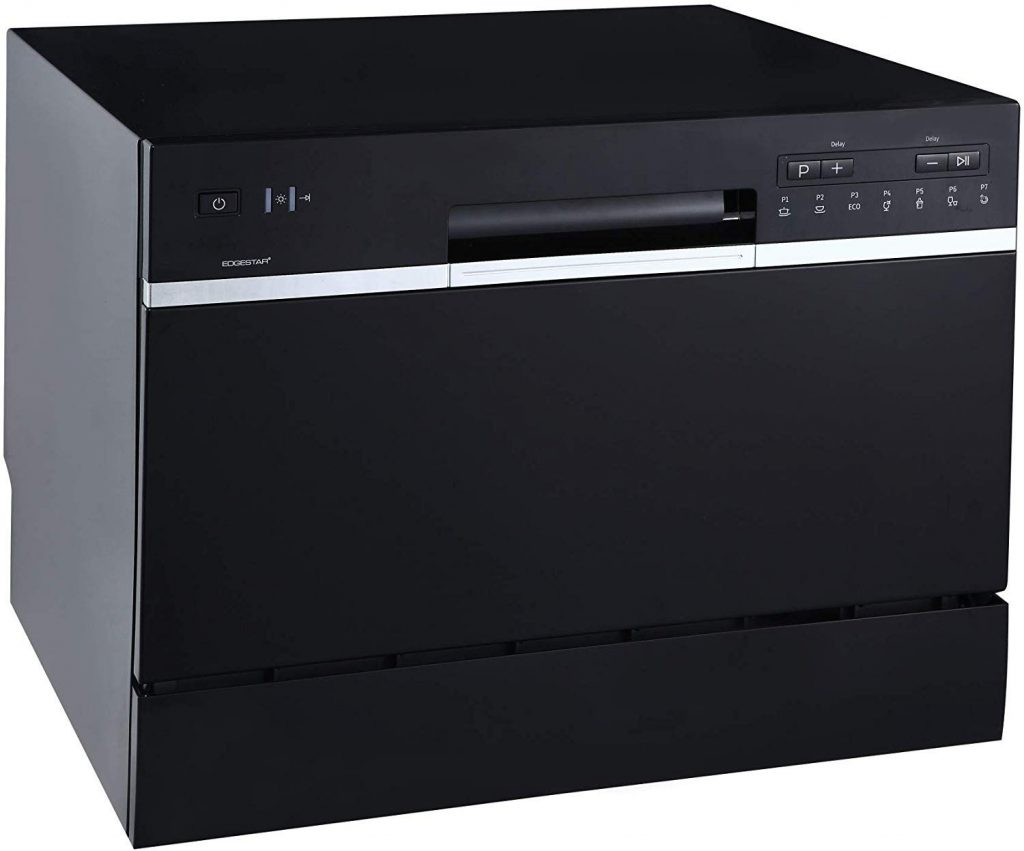 EdgeStar DWP62BL 6 Place Setting Energy Star Rated Portable Countertop Dishwasher