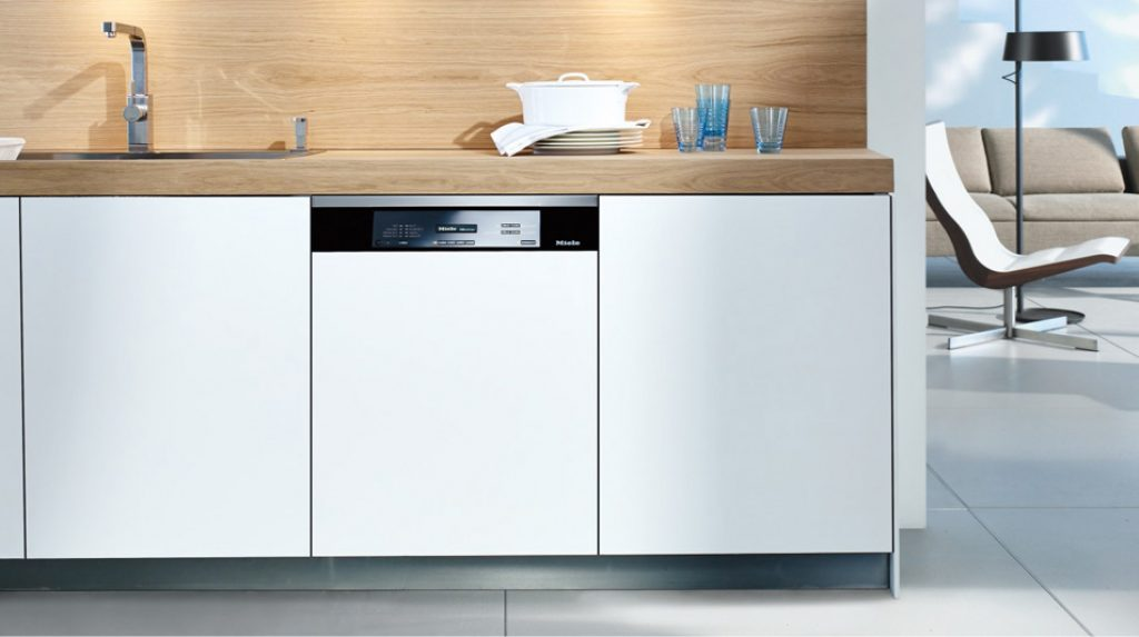 Partially integrated dishwashers